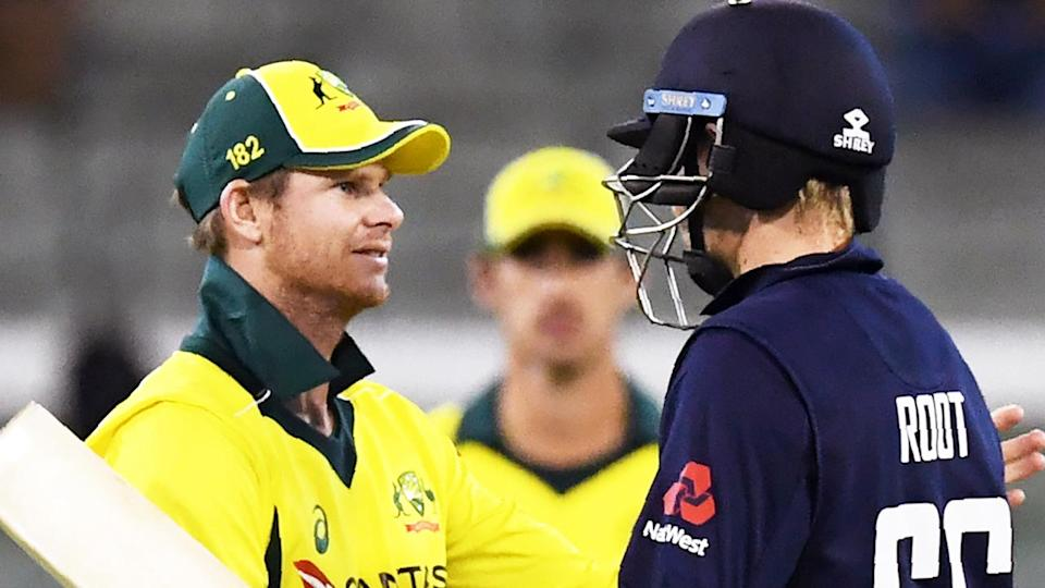 England batsman Joe Root (pictured right) shakes hands with Australia's captain Steve Smith (pictured left).