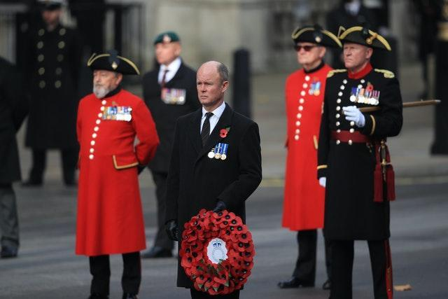 Veterans attend the Remembrance Sunday service at the Cenotaph