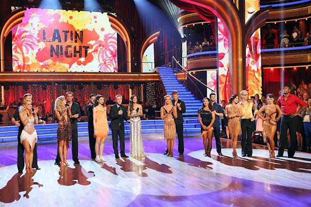 """It was Latin Night on """"Dancing with the Stars,"""" as seven remaining couples took to the ballroom floor and performed to a Latin-inspired hit, Monday, April 29, on ABC."""