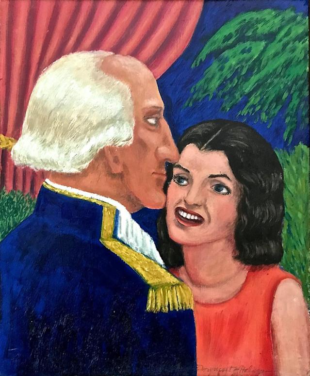 "<p>""George and Jackie"": The former first lady gazes flirtatiously at the father of our country in this imaginary double portrait. (Photo: MOBA/Caters News) </p>"