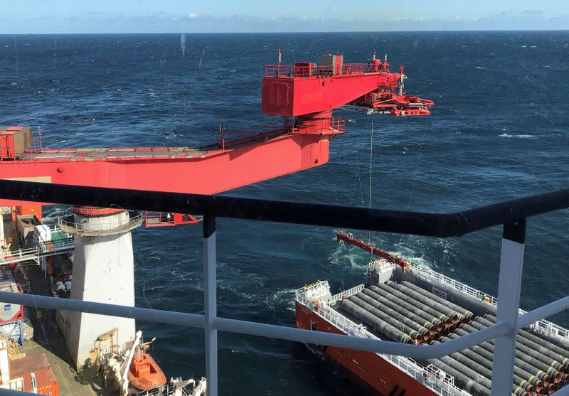 FILE PHOTO: FILE PHOTO: Allseas' deep sea pipe laying ship Solitaire lays pipes for Nord Stream 2 pipeline in the Baltic Sea