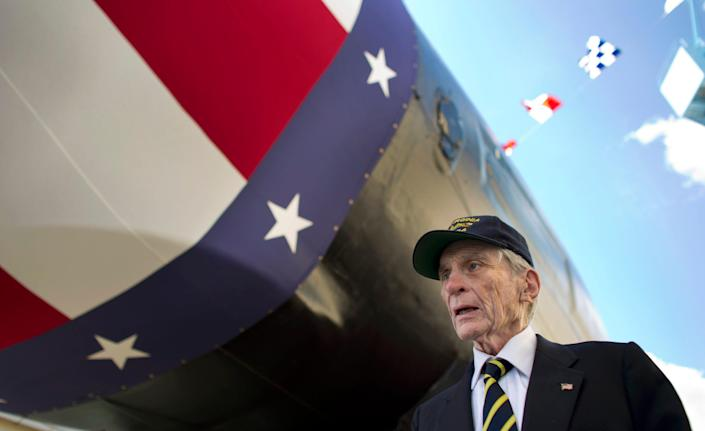 John Warner, a former Navy Secretary and Republican senator from Virginia, tours a new submarine that bears his name in Newport News, Va., on Sept. 6, 2014.
