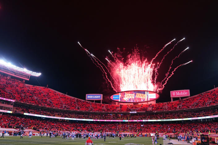 Fireworks go off over Arrowhead Stadium after the AFC championship NFL football game between the Kansas City Chiefs and the Buffalo Bills, Sunday, Jan. 24, 2021, in Kansas City, Mo. The Chiefs won 38-24. (AP Photo/Jeff Roberson)