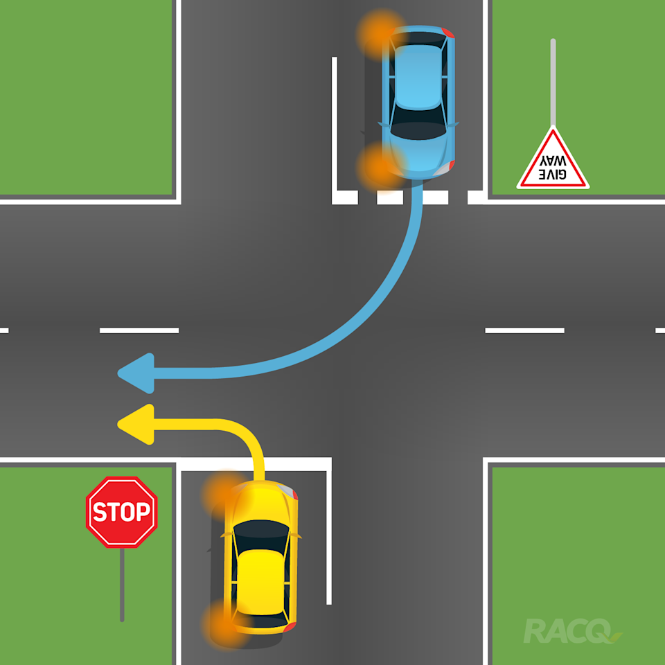 Two cars face an intersection with one in front of a stop sign and another at a give way. They both want to turn into the same lane.