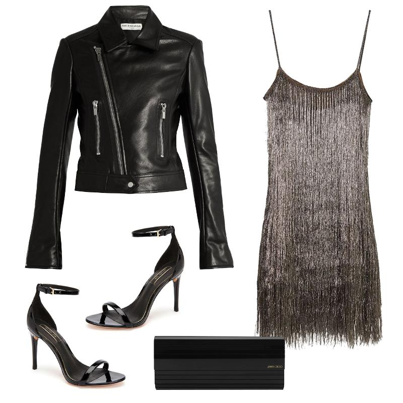 """<a rel=""""nofollow"""" href=""""https://shoprachelzoe.com/shop/ready-to-wear/core/della-metallic-fringed-mini-dress/?attribute_pa_color=mecop"""">Della Metallic Fringe Mini Dress, Rachel Zoe Collection, $495</a><a rel=""""nofollow"""" href=""""https://click.linksynergy.com/fs-bin/click?id=30KlfRmrMDo&subid=&offerid=273573.1&type=10&tmpid=10878&RD_PARM1=http%253A%252F%252Fus.jimmychoo.com%252Fen%252Fwomen%252Fbags%252Fevening-bags-and-clutches%252Fsweetie%252Fblack-acrylic-clutch-bag-with-gold-chain-strap-SWEETIEACR010003.html%253Fcgid%253Dwomen-handbags-clutch"""">Sweetie Black Acrylic Clutch Bag With Gold Chain Strap, Jimmy Choo, $795</a><a rel=""""nofollow"""" href=""""https://shoprachelzoe.com/shop/footwear/ema-heeled-sandals/?attribute_pa_color=blk"""">Ema Patent Leather Heeled Sandals, Rachel Zoe Collection, $248</a><a rel=""""nofollow"""" href=""""https://click.linksynergy.com/fs-bin/click?id=30KlfRmrMDo&subid=&offerid=302794.1&type=10&tmpid=10147&RD_PARM1=http%253A%252F%252Fwww.matchesfashion.com%252Fproducts%252FBalenciaga-Leather-biker-jacket-1057328"""">Leather Biker Jacket, Balenciaga, $2253</a><p>     <strong>Related Articles</strong>     <ul>         <li><a rel=""""nofollow"""" href=""""http://thezoereport.com/fashion/style-tips/box-of-style-ways-to-wear-cape-trend/?utm_source=yahoo&utm_medium=syndication"""">The Key Styling Piece Your Wardrobe Needs</a></li><li><a rel=""""nofollow"""" href=""""http://thezoereport.com/living/wellness/iced-coffee-starbucks-might-lot-stronger-year/?utm_source=yahoo&utm_medium=syndication"""">Why Your Iced Coffee From Starbucks Might Be A Lot Stronger This Year</a></li><li><a rel=""""nofollow"""" href=""""http://thezoereport.com/entertainment/culture/instagram-archive-feature/?utm_source=yahoo&utm_medium=syndication"""">Instagram Has Finally Figured Out How To Save Us From Ourselves</a></li>    </ul> </p>"""