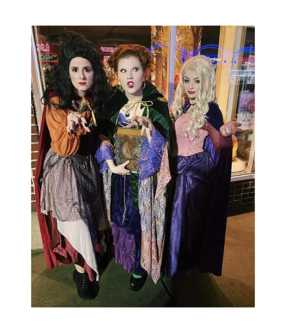 """<p><a href=""""https://www.oprahmag.com/life/g27868790/best-friend-halloween-costumes/"""" rel=""""nofollow noopener"""" target=""""_blank"""" data-ylk=""""slk:Dressing up with your BFFs"""" class=""""link rapid-noclick-resp"""">Dressing up with your BFFs</a>? Go as the Sanderson sisters from the hit Halloween flick <em>Hocus Pocus</em>. There are plenty of store-bought options, but you can just as easily throw your looks together with some garb from your local vintage shop. Look for long skirts, voluminous blouses, and velvet capes. </p><p><a class=""""link rapid-noclick-resp"""" href=""""https://www.amazon.com/Winifred-Sanderson-Costume-Officially-Licensed/dp/B07VBGQ282?tag=syn-yahoo-20&ascsubtag=%5Bartid%7C10072.g.33534666%5Bsrc%7Cyahoo-us"""" rel=""""nofollow noopener"""" target=""""_blank"""" data-ylk=""""slk:SHOP WINIFRED SANDERSON COSTUME"""">SHOP WINIFRED SANDERSON COSTUME</a></p><p><a class=""""link rapid-noclick-resp"""" href=""""https://www.amazon.com/Party-City-Sanderson-Halloween-Costume/dp/B08BG7N113/?tag=syn-yahoo-20&ascsubtag=%5Bartid%7C10072.g.33534666%5Bsrc%7Cyahoo-us"""" rel=""""nofollow noopener"""" target=""""_blank"""" data-ylk=""""slk:SHOP SARAH SANDERSON COSTUME"""">SHOP SARAH SANDERSON COSTUME</a></p><p><a class=""""link rapid-noclick-resp"""" href=""""https://www.amazon.com/Party-City-Sanderson-Halloween-Attached/dp/B08BG7WWRS?tag=syn-yahoo-20&ascsubtag=%5Bartid%7C10072.g.33534666%5Bsrc%7Cyahoo-us"""" rel=""""nofollow noopener"""" target=""""_blank"""" data-ylk=""""slk:SHOP MARY SANDERSON COSTUME"""">SHOP MARY SANDERSON COSTUME</a></p>"""