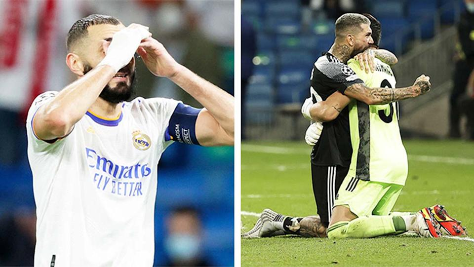 Sheriff players (pictured right) celebrating their win over Real Madrid and (pictured left) Karim Benzema looking disappointed.