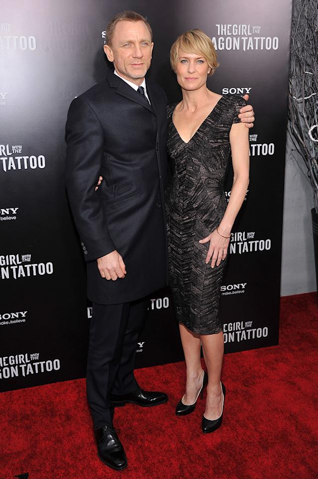 "<a href=""http://movies.yahoo.com/movie/contributor/1800023173"">Daniel Craig</a> and <a href=""http://movies.yahoo.com/movie/contributor/1800019047"">Robin Wright</a> at the New York premiere of <a href=""http://movies.yahoo.com/movie/1810163569/info"">The Girl With the Dragon Tattoo</a> on December 14, 2011."