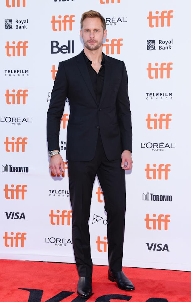 "<p>Skarskård was the man in black at the ""Hold the Dark"" premiere. </p>"