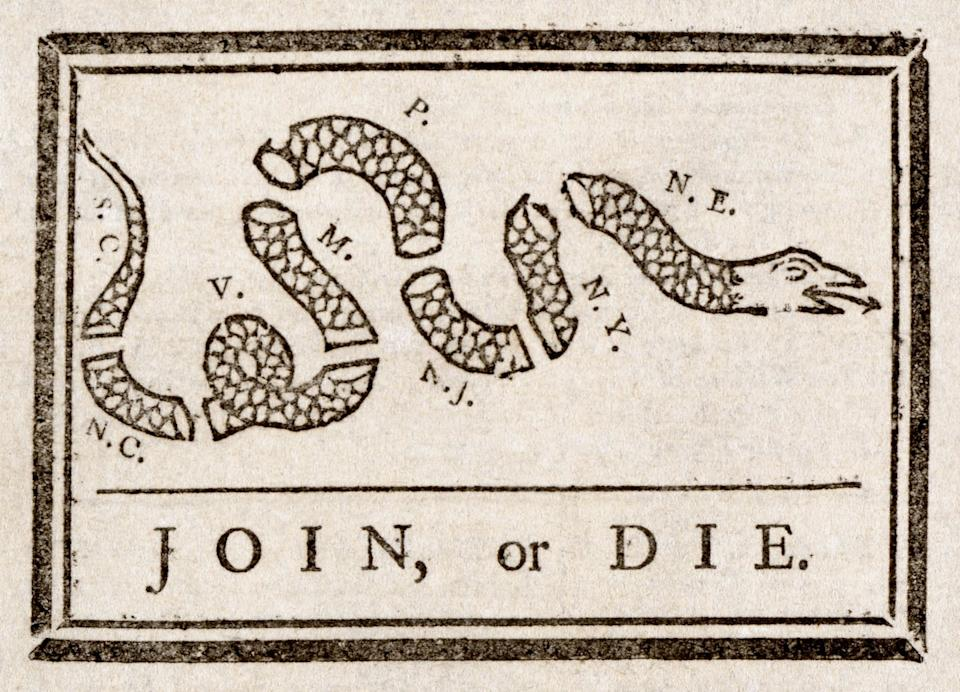 A segmented snake labeled with colonial regions and captioned 'Join, or die.'