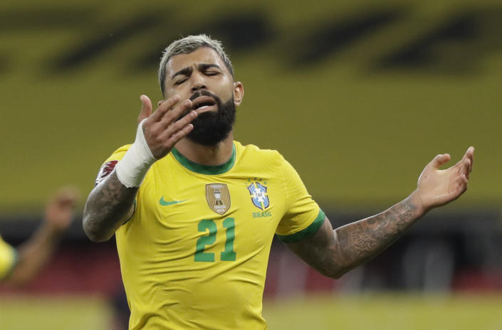 Brazil's Gabriel Barbosa reacts during a qualifying soccer match against Ecuador for the FIFA World Cup Qatar 2022 at Beira-Rio stadium in Porto Alegre, Brazil, Friday, June 4, 2021. (AP Photo/Andre Penner)