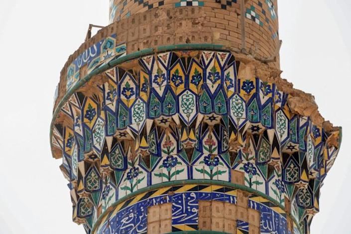 Scars remain today of the damage caused by the Iran-Iraq war, including this mosque's minaret in Iraq's southern region of al-Faw