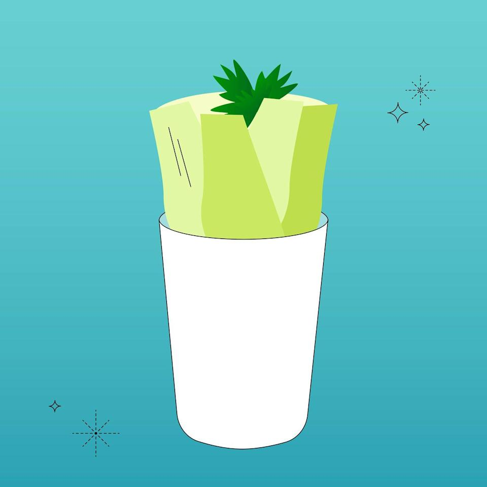 """<p>Celery is also similar to romaine or cabbage. Cut off the root end of an entire stalk and place the root in 1"""" of water. After leaves start to sprout, give the celery about a week to strengthen in the water, changing the water every couple of days. Then it's time to replant in soil! You can use the leaves in salads or as a garnish, just like carrot tops. </p>"""