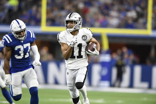 during the first half of an NFL football game in Indianapolis, Sunday, Sept. 29, 2019. (AP Photo/Doug McSchooler)