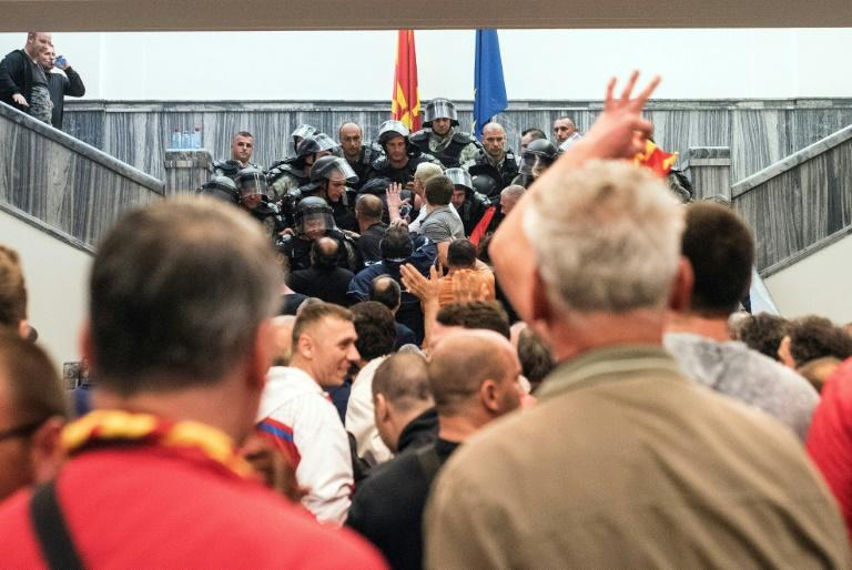 Protesters storm Macedonia's parliament on April 27, 2017, in an attack strongly condemned by the international community