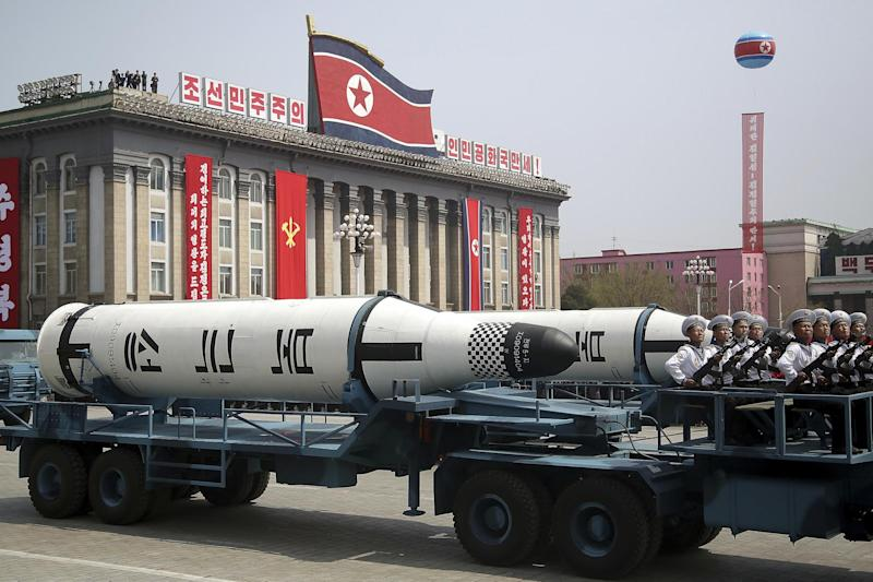 Parade: A submarine-launched ballistic missile is displayed in Kim Il Sung Square during a celebration: AP