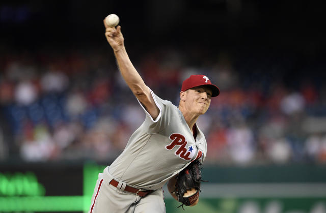 Philadelphia Phillies starting pitcher Nick Pivetta delivers during the first inning of a baseball game against the Washington Nationals, Sunday, June 24, 2018, in Washington. (AP Photo/Nick Wass)
