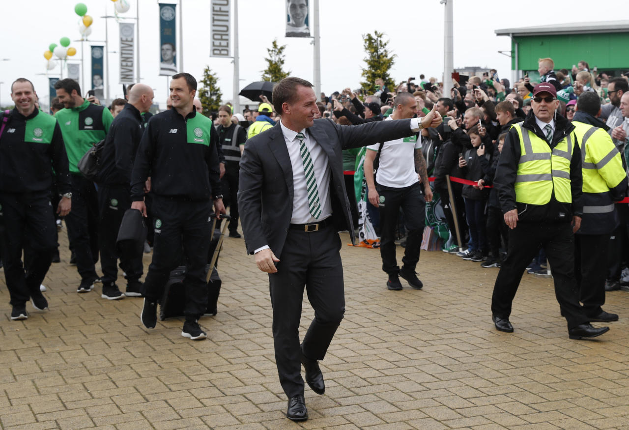 "Britain Football Soccer - Celtic v Heart of Midlothian - Scottish Premiership - Celtic Park - 21/5/17 Celtic manager Brendan Rodgers arrives before the match  Reuters / Russell Cheyne Livepic EDITORIAL USE ONLY. No use with unauthorized audio, video, data, fixture lists, club/league logos or ""live"" services. Online in-match use limited to 45 images, no video emulation. No use in betting, games or single club/league/player publications.  Please contact your account representative for further details."