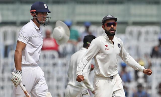 "<span class=""element-image__caption"">India's Virat Kohli celebrates as Alastair Cook's dismissal signals the start of England's collapse in the fifth Test, one of eight matches in 2016 to be won with an innings to spare.</span> <span class=""element-image__credit"">Photograph: Tsering Topgyal/AP</span>"