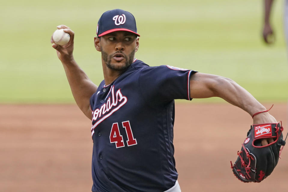 Washington Nationals starting pitcher Joe Ross (4 delivers in the first Inning of a baseball game against the Atlanta Braves, Monday, May 31, 2021, in Atlanta. (AP Photo/John Bazemore)