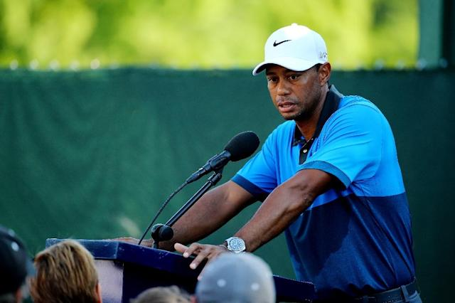 Tiger Woods talks to the media after missing the cut at the PGA Championship on August 15, 2015 in Sheboygan, Wisconsin (AFP Photo/Richard Heathcote)