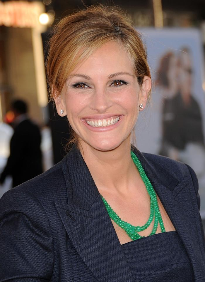 """<a href=""""http://movies.yahoo.com/movie/contributor/1800019215"""">Julia Roberts</a> at the Los Angeles premiere of <a href=""""http://movies.yahoo.com/movie/1810196533/info"""">Larry Crowne</a> on June 27, 2011."""