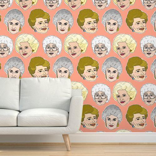 """Wallpaper doesn't come more fun than this. Bring Blanche, Rose, Sophia, and Dorothy home to your own living room with this <a href=""""https://www.architecturaldigest.com/story/golden-girls-friends-influence-on-design-trends?mbid=synd_yahoo_rss"""" rel=""""nofollow noopener"""" target=""""_blank"""" data-ylk=""""slk:Golden Girls"""" class=""""link rapid-noclick-resp""""><em>Golden Girls</em></a> wallpaper from Spoonflower. Your houseguests will <em>never</em> forget it. $72, Spoonflower. <a href=""""https://www.spoonflower.com/en/wallpaper/7944022-golden-girls-illustration-peach-by-yesterdaycollection"""" rel=""""nofollow noopener"""" target=""""_blank"""" data-ylk=""""slk:Get it now!"""" class=""""link rapid-noclick-resp"""">Get it now!</a>"""