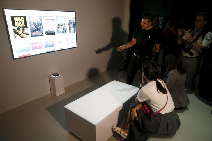 The new Apple TV is displayed during an Apple media event in San Francisco