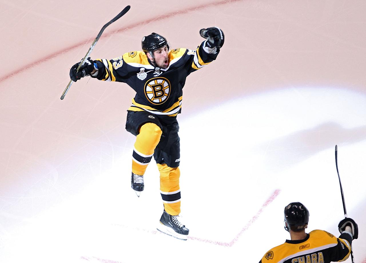 BOSTON, MA - JUNE 13:  Brad Marchand #63 of the Boston Bruins celebrates after scoring a goal in the first period against Roberto Luongo #1 of the Vancouver Canucks during Game Six of the 2011 NHL Stanley Cup Final at TD Garden on June 13, 2011 in Boston, Massachusetts.  (Photo by Jim Rogash/Getty Images)