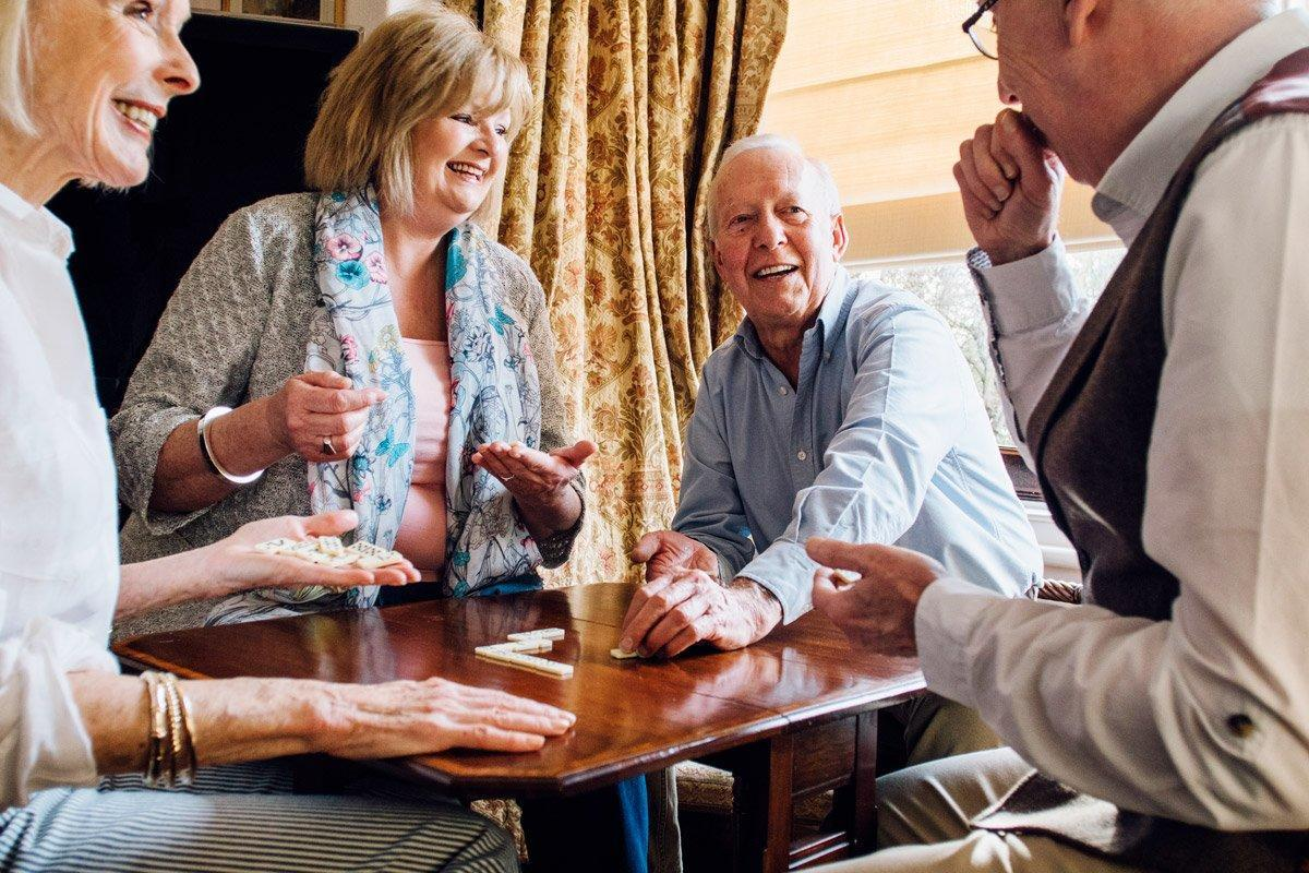 A group of senior citizens play games.