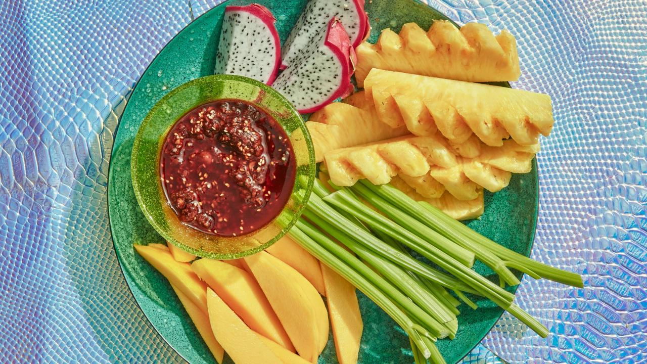 """Unlike most salsa machas, this kicky chile-and-peanut-laced one from <a href=""""https://www.lildebsoasis.com/"""">Lil' Deb's Oasis</a> in Hudson, New York, incorporates vinegar and orange juice for more rounded flavor. Use it as a dip for vegetables or sweet tropical fruit. Co-chef-and-owner Carla Perez-Gallardo calls it one of her favorite sauces in the whole world: """"Crudités gets so French-ified and ranch-ified, and this feels more true to our tropicalia."""" <a href=""""https://www.bonappetit.com/recipe/salsa-macha-with-crudites?mbid=synd_yahoo_rss"""">See recipe.</a>"""