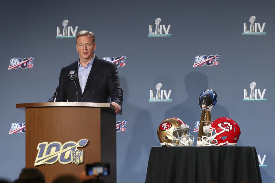 NFL Commissioner Roger Goodell speaks at a press conference ahead of Super Bowl LIV, Wednesday, Jan. 29, 2020 in Miami. (Ben Liebenberg via AP)