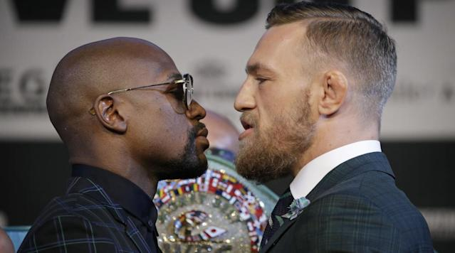 "<p>Floyd Mayweather is the favorite in his fight with Conor McGregor on Aug. 26.</p><p>Mayweather is favored at -450, according to <a href=""http://www.oddsshark.com/boxing/floyd-mayweather-vs-conor-mcgregor-boxing-betting-odds"" rel=""nofollow noopener"" target=""_blank"" data-ylk=""slk:OddsShark"" class=""link rapid-noclick-resp"">OddsShark</a>, meaning somebody would have to bet $450 on Mayweather in order to win $100.</p><p>McGregor's odds are +325.</p><p>Mayweather, 40, is 49-0 in his pro boxing career with 26 KOs. His last fight was in 2015 when he defeated Andre Berto by unanimous decision. Mayweather's last knockout came on Sept. 17, 2011, when he dropped Victor Ortiz in the fourth round.</p><p>The 29-year-old McGregor has gone 21-3 in MMA with 18 knockouts.</p>"