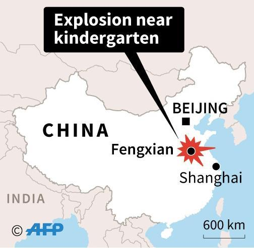<p>Map showing the localtion of the Kindergarten explosion in Fengxian in Jiangsu province, China. (Photo: AFP ) </p>