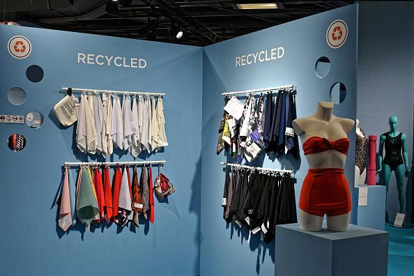 Recycled swimsuit fabrics displayed at the International Trade Show of Lingerie, Swimwear, and Sunwear in Paris on July 8, 2019.