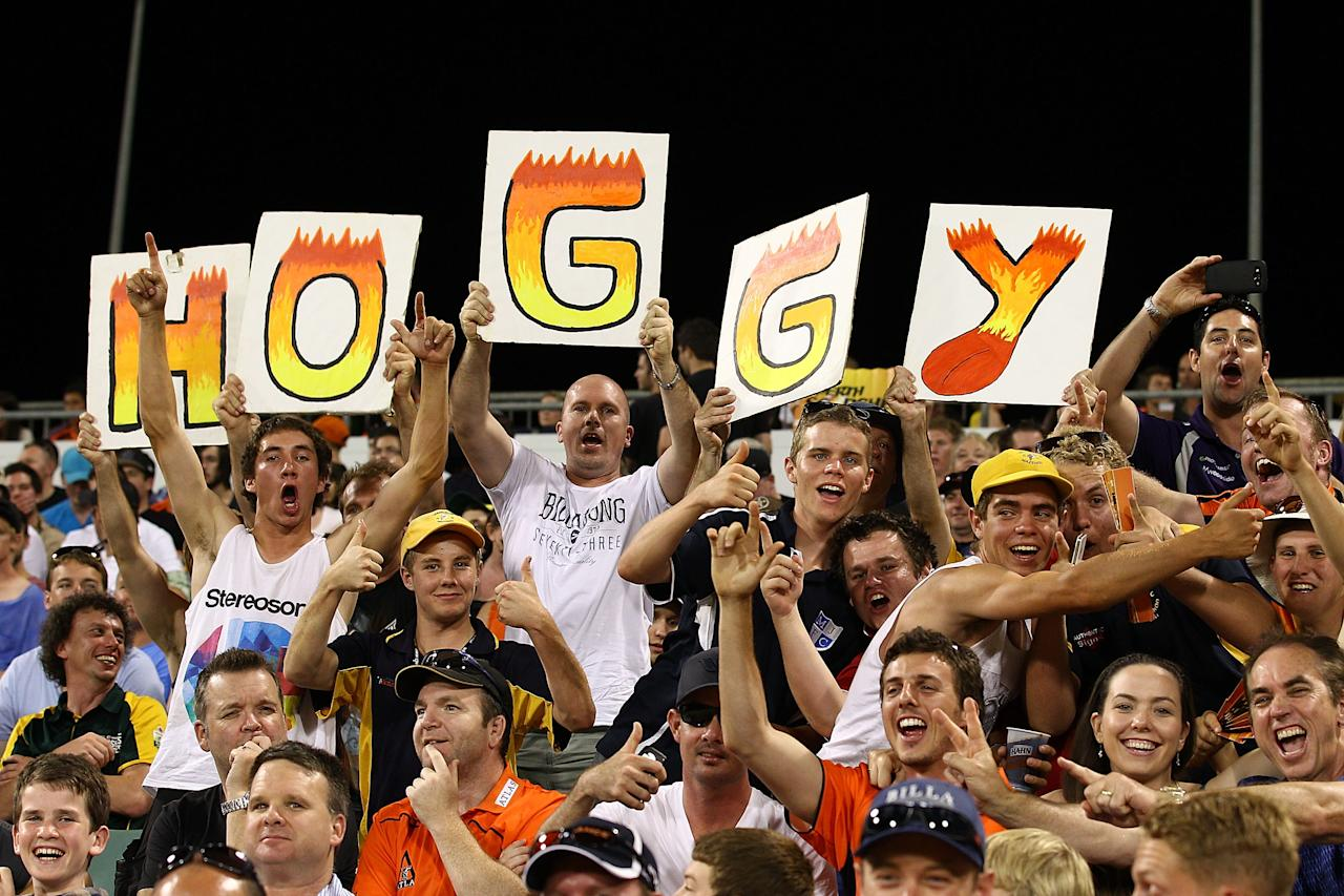 PERTH, AUSTRALIA - DECEMBER 09: Spectators show their support for Brad Hogg of the Scorchers during the Big Bash League match between the Perth Scorchers and Adelaide Strikers at WACA on December 9, 2012 in Perth, Australia.  (Photo by Paul Kane/Getty Images)