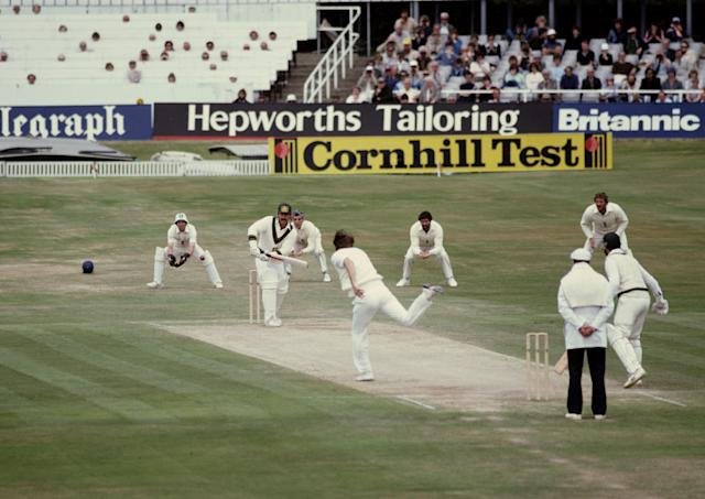 Chris Old of England bowls to Rodney Marsh of Australia during the 2nd innings of the Third Ashes Test between England and Australia on 21st July 1981at the Headingley Stadium in Leeds, United Kingdom. (Photo by Adrian Murrell/Getty Images)