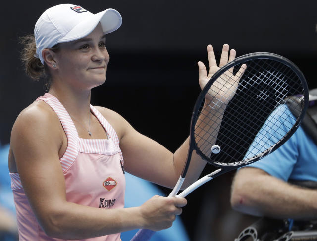Australia's Ashleigh Barty celebrates after defeating China's Wang Yafan in their second round match at the Australian Open tennis championships in Melbourne, Australia, Wednesday, Jan. 16, 2019. (AP Photo/Mark Schiefelbein)