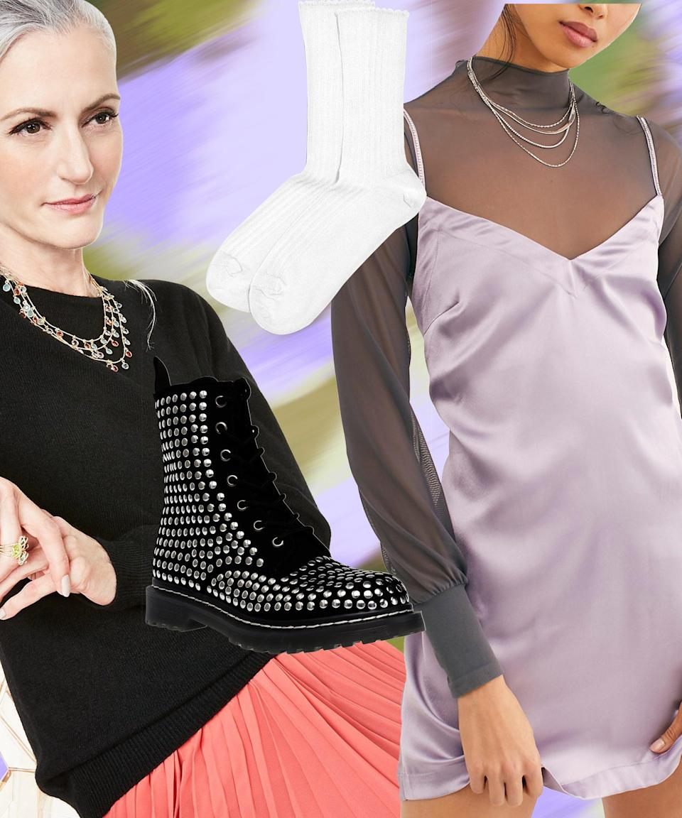 """Before you stow away all your summer dresses, consider leaving this lavender mini out for a big transitional fit. Just layer a tissue-weight cashmere sweater underneath and pull on a pair of studded combat boots with a '90s grunge vibe — that you'll temper with a ruffled sock. <br><br><strong>Free People</strong> Darling Mini Dress, $, available at <a href=""""https://go.skimresources.com/?id=30283X879131&url=https%3A%2F%2Fwww.macys.com%2Fshop%2Fproduct%2Ffree-people-darling-mini-dress%3FID%3D10786567%26CategoryID%3D5449%26swatchColor%3DNova%2520Red"""" rel=""""nofollow noopener"""" target=""""_blank"""" data-ylk=""""slk:Macy's"""" class=""""link rapid-noclick-resp"""">Macy's</a><br><br><strong>Charter Club</strong> Crew-Neck Cashmere Sweater, $, available at <a href=""""https://go.skimresources.com/?id=30283X879131&url=https%3A%2F%2Fwww.macys.com%2Fshop%2Fproduct%2Fcharter-club-crew-neck-cashmere-sweater-regular-petite-sizes-created-for-macys%3FID%3D8492442%26CategoryID%3D260%26swatchColor%3DChantilly%2520Pink"""" rel=""""nofollow noopener"""" target=""""_blank"""" data-ylk=""""slk:Macy's"""" class=""""link rapid-noclick-resp"""">Macy's</a><br><br><strong>Wild Pair</strong> Ryyder Lace-Up Booties, $, available at <a href=""""https://go.skimresources.com/?id=30283X879131&url=https%3A%2F%2Fwww.macys.com%2Fshop%2Fproduct%2Fwild-pair-ryyder-lace-up-booties-created-for-macys%3FID%3D10225002%26CategoryID%3D25122%26swatchColor%3DBlack%2520Studs"""" rel=""""nofollow noopener"""" target=""""_blank"""" data-ylk=""""slk:Macy's"""" class=""""link rapid-noclick-resp"""">Macy's</a><br><br><strong>HUE</strong> Scalloped Pointelle Socks, $, available at <a href=""""https://go.skimresources.com/?id=30283X879131&url=https%3A%2F%2Fwww.macys.com%2Fshop%2Fproduct%2Fhue-womens-scallopped-pointelle-socks%3FID%3D963055%26CategoryID%3D40546%26swatchColor%3DWhite"""" rel=""""nofollow noopener"""" target=""""_blank"""" data-ylk=""""slk:Macy's"""" class=""""link rapid-noclick-resp"""">Macy's</a>"""