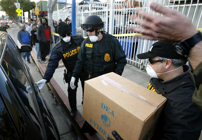 DEA agents have raided medical marijuana distribution centers, including the Farmarcy in West Hollywood.  (Wally Skalij via Getty Images)