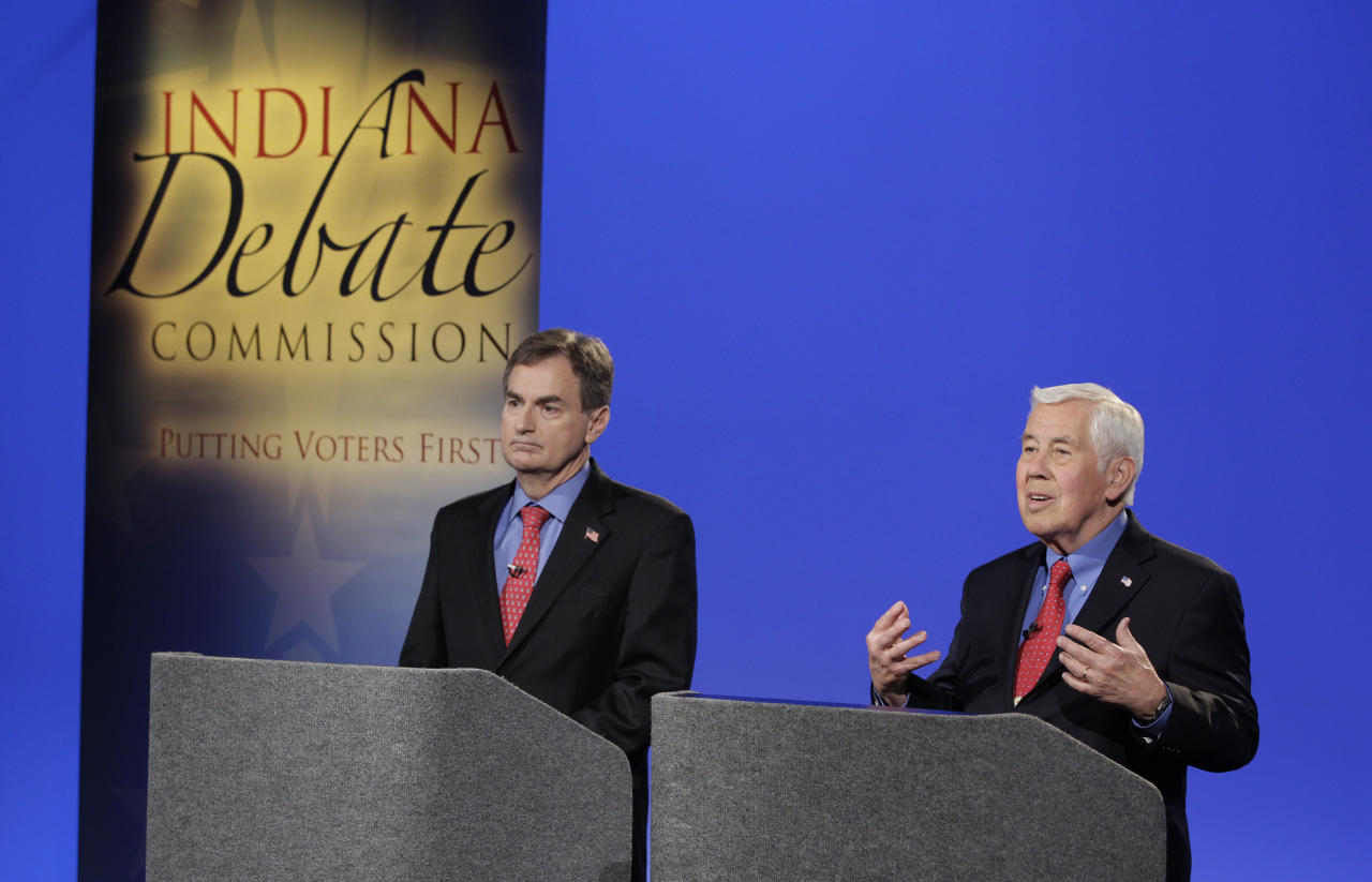 U.S. Senate candidates running in the GOP primary, Sen. Richard Lugar, R-Ind.,and Richard Mourdock, left, participate in a debate Wednesday, April 11, 2012, in Indianapolis. (AP Photo/Darron Cummings, Pool)