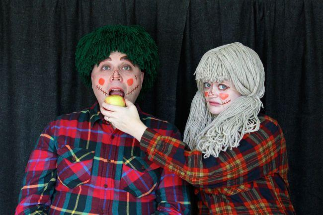 """<p>Adorable yarn-hair wigs, simple makeup and a flannel shirt create this easy-peasy costume for couples or groups.</p><p><strong>Get the tutorial at</strong> <a href=""""https://www.handsoccupied.com/scarecrow-costumes/"""" rel=""""nofollow noopener"""" target=""""_blank"""" data-ylk=""""slk:Hands Occupied"""" class=""""link rapid-noclick-resp""""><strong>Hands Occupied</strong></a><strong>.</strong></p><p><a class=""""link rapid-noclick-resp"""" href=""""https://www.amazon.com/Red-Heart-E267-1270Red-Classic-Golden/dp/B01GUF6AZW/ref=sr_1_3?dchild=1&keywords=yarn+golden&qid=1592921295&sr=8-3&tag=syn-yahoo-20&ascsubtag=%5Bartid%7C10050.g.28190286%5Bsrc%7Cyahoo-us"""" rel=""""nofollow noopener"""" target=""""_blank"""" data-ylk=""""slk:SHOP YARN"""">SHOP YARN</a></p>"""