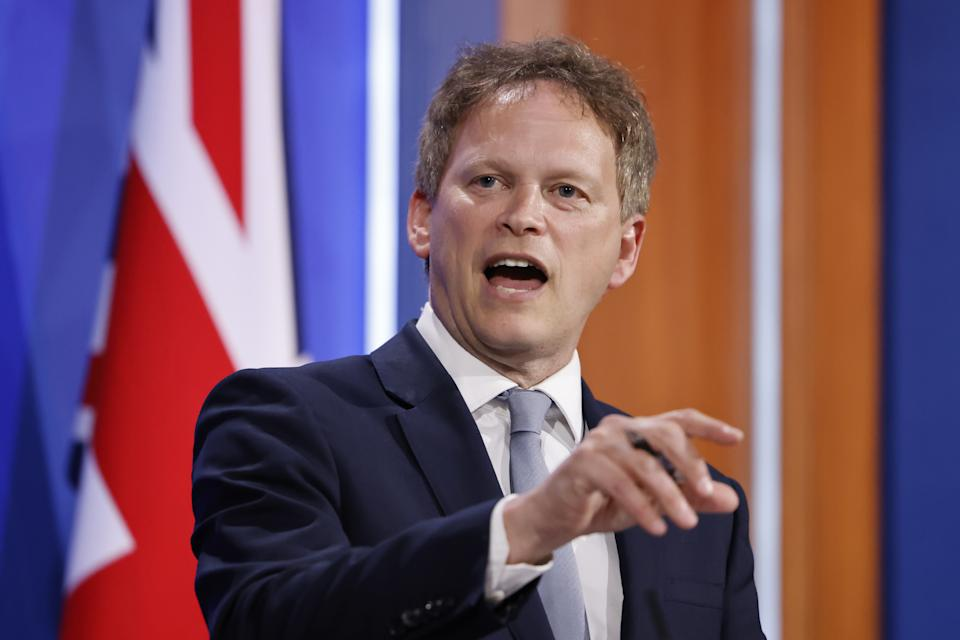 Transport Secretary Grant Shapps during a media briefing in Downing Street, London, on coronavirus (Covid-19). Picture date: Friday May 7, 2021.