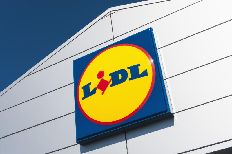 Lidl supermarket logo sign on the store