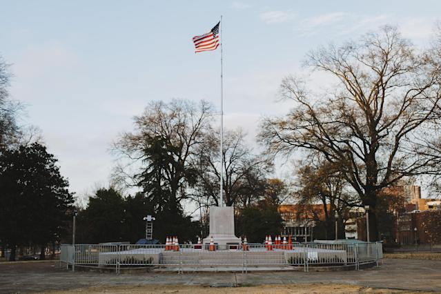 A pedestal, where the statue of General Nathan Bedford Forrest stood before it was removed, stands at a park in Memphis, Tenn. on Dec. 21, 2017. The City Council voted unanimously to sell two Memphis parks where Confederate statues were located. The parks were sold to Greenspace Inc. for $1,000 each, according to The Commercial Appeal. (Photo: Houston Cofield/Bloomberg via Getty Images)