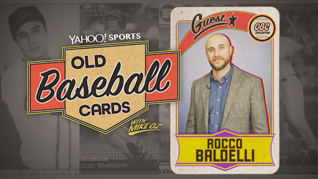 Twins manager Rocco Baldelli opened baseball cards from 1994 and 2004. (Yahoo Sports)