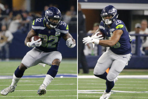 FILE - At left, in a Jan. 5, 2019, file photo, Seattle Seahawks running back Chris Carson (32) runs against the Dallas Cowboys during the first half of the NFC wild-card NFL football game in Arlington, Texas. At right, also in a Jan. 5, 2019, file photo, Seattle Seahawks running back Rashaad Penny (20) carries the ball against the Dallas Cowboys during the NFC wild-card NFL football game in Arlington, Texas. Despite rushing for more than a 1,100 yards last season there's a good chance Chris Carson finds himself sharing the workload in Seattles backfield with Rashaad Penny. And Carson sounds just fine with that. (AP Photo/Michael Ainsworth, File)