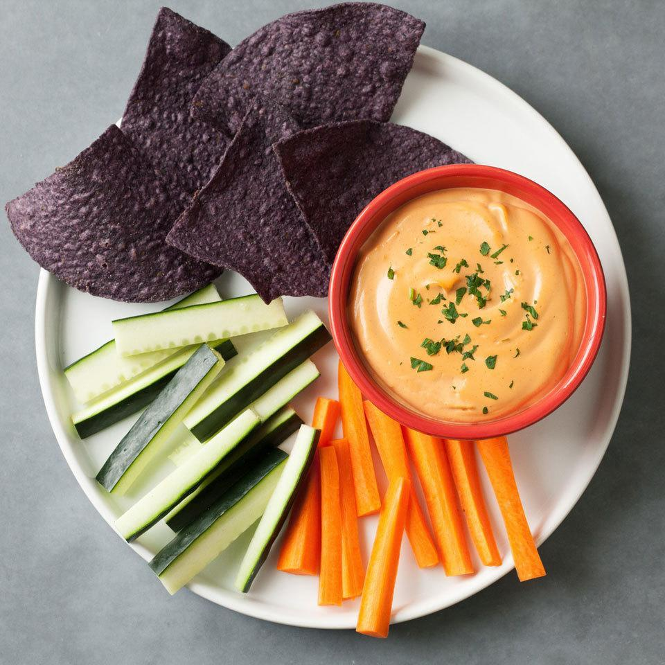 <p>Blended cashews make for a creamy and dairy-free cheese dip. Serve with tortilla chips and veggies for an easy and healthy vegan appetizer.</p>