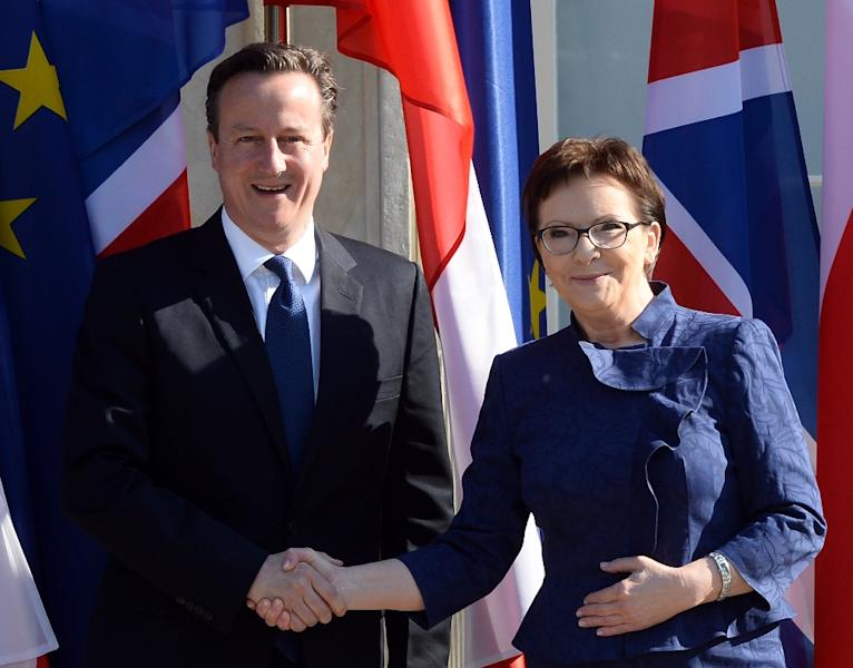 Polish Prime Minister Ewa Kopacz (R) welcomes her British counterpart David Cameron upon his arrival at Lazienki Palace in Warsaw on May 29, 2015 (AFP Photo/Janek Skarzynski)