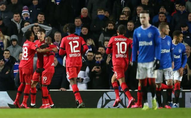 Kai Havertz, who has been linked with a move to Chelsea, scored for Bayer Leverkusen against Rangers (Andrew Milligan/PA)